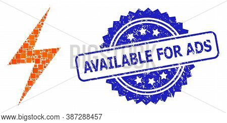 Vector Collage Electric Strike, And Available For Ads Textured Rosette Stamp Seal. Blue Stamp Seal C