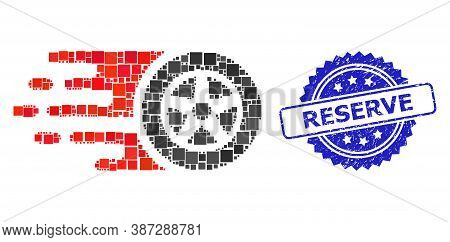Vector Collage Car Wheel, And Reserve Grunge Rosette Stamp Seal. Blue Stamp Seal Includes Reserve Ca