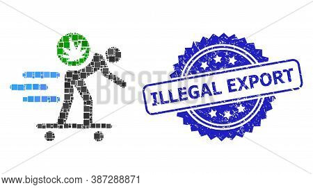 Vector Collage Express Cannabis Courier, And Illegal Export Scratched Rosette Stamp. Blue Stamp Seal