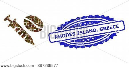 Vector Collage Coffein Syringe, And Rhodes Island, Greece Corroded Rosette Seal Imitation. Blue Seal