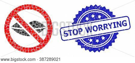 Vector Collage Forbidden Kiss, And Stop Worrying Dirty Rosette Seal. Blue Stamp Seal Contains Stop W