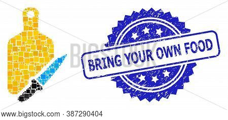 Vector Mosaic Cutting Board And Knife, And Bring Your Own Food Grunge Rosette Seal Print. Blue Seal