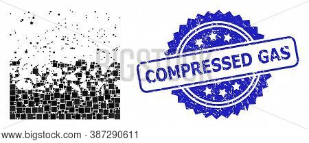 Vector Collage Boiling Liquid, And Compressed Gas Corroded Rosette Stamp Seal. Blue Stamp Seal Conta