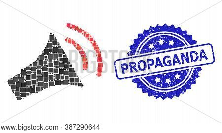Vector Mosaic Announce Horn, And Propaganda Dirty Rosette Stamp Seal. Blue Stamp Seal Includes Propa