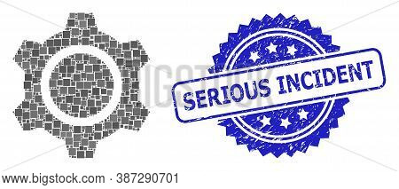 Vector Collage Gear, And Serious Incident Scratched Rosette Seal Print. Blue Seal Contains Serious I