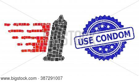 Vector Collage Condom, And Use Condom Unclean Rosette Stamp Seal. Blue Stamp Seal Contains Use Condo