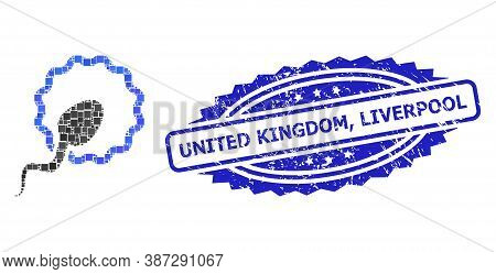 Vector Mosaic Cell Insemination, And United Kingdom, Liverpool Dirty Rosette Seal Imitation. Blue St