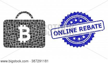 Vector Mosaic Bitcoin Case, And Online Rebate Dirty Rosette Seal. Blue Stamp Includes Online Rebate
