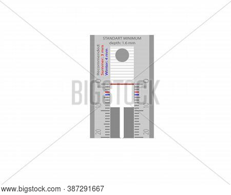 Instruments For Measuring Tire Tread Depth. Vector Illustration On A White Background.
