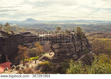 Pravcicka Brana - A Narrow Rock Formation In Bohemian Switzerland, Czech Republic, The Largest Natur