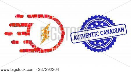 Vector Collage Electric Participle, And Authentic Canadian Dirty Rosette Seal. Blue Seal Contains Au
