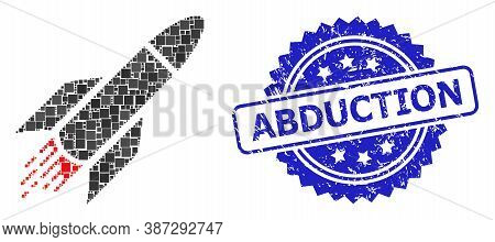 Vector Collage Rocket, And Abduction Textured Rosette Stamp. Blue Stamp Seal Has Abduction Caption I