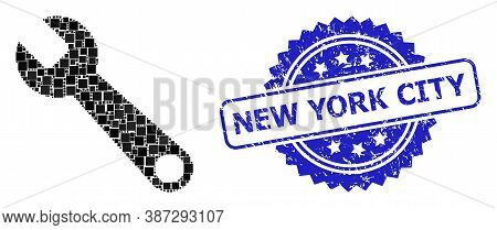 Vector Collage Spanner, And New York City Unclean Rosette Seal. Blue Stamp Seal Contains New York Ci