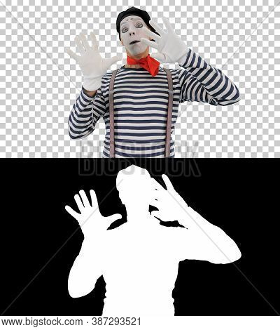 Mime Holding Touching Imaginary Wall And Making Imaginary Bird,