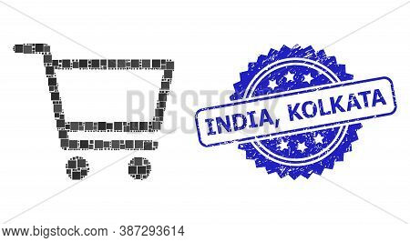 Vector Collage Shopping Cart, And India, Kolkata Textured Rosette Seal. Blue Stamp Seal Contains Ind