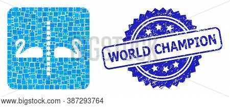 Vector Collage Separate Swans, And World Champion Textured Rosette Seal Imitation. Blue Stamp Seal I