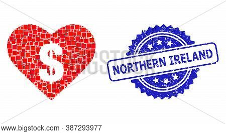 Vector Collage Love Price, And Northern Ireland Unclean Rosette Stamp Seal. Blue Stamp Seal Includes