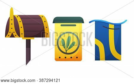 Mailbox. Cartoon Mail Box Vector Post Or Postal Letterbox Of American Or European Mailing And Set Of