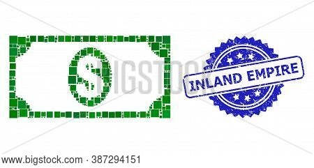 Vector Mosaic Usd Banknote, And Inland Empire Corroded Rosette Stamp Seal. Blue Stamp Seal Has Inlan