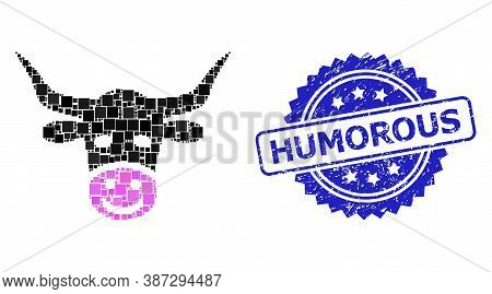 Vector Mosaic Smiled Cow Head, And Humorous Dirty Rosette Stamp Seal. Blue Stamp Seal Includes Humor