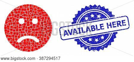 Vector Collage Sad Smiley, And Available Here Grunge Rosette Stamp Seal. Blue Stamp Seal Contains Av
