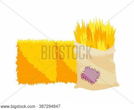 Golden Color Bale Of Hay. Bale Of Hay Or Straw Isolated On White Background. Bag Of Hay. Flat Dried
