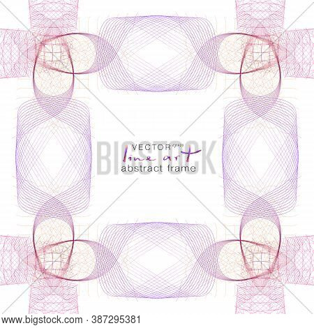 Symmetric Tangled Subtle Lines As Threads. Red, Bordo, Violet, Purple Open-work Frame. Vector Abstra