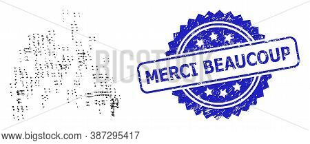 Vector Mosaic Sand Swarm, And Merci Beaucoup Dirty Rosette Stamp. Blue Stamp Includes Merci Beaucoup