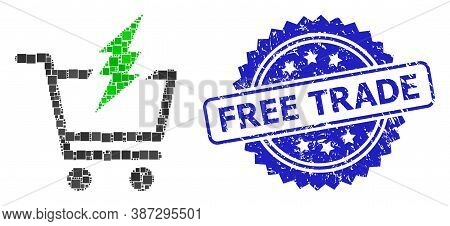 Vector Mosaic Proceed Purchase, And Free Trade Textured Rosette Stamp Seal. Blue Stamp Seal Contains