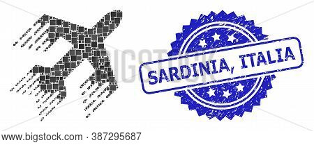 Vector Collage Jet Plane, And Sardinia, Italia Rubber Rosette Stamp Seal. Blue Stamp Includes Sardin