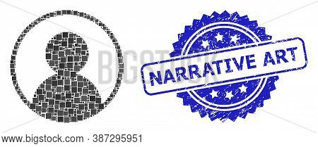 Vector Mosaic User Portrait, And Narrative Art Corroded Rosette Stamp Seal. Blue Stamp Seal Contains