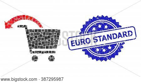 Vector Collage Refund Shopping Order, And Euro Standard Scratched Rosette Watermark. Blue Seal Conta