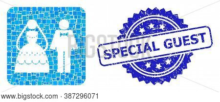Vector Collage Wedding Couple, And Special Guest Rubber Rosette Stamp Seal. Blue Stamp Seal Contains