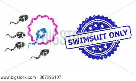 Vector Collage Sperm Insemination, And Swimsuit Only Dirty Rosette Stamp Seal. Blue Stamp Seal Inclu