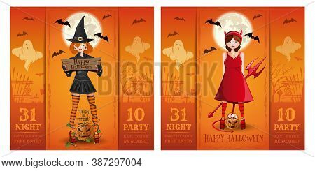 Set Of Halloween Party Invitation Cards. Halloween Poster With Cute Girls In Fancy Dress. Vector Ill