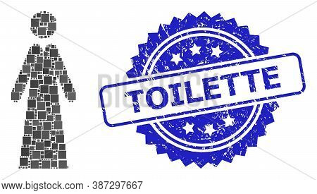 Vector Mosaic Lady, And Toilette Scratched Rosette Stamp. Blue Stamp Contains Toilette Caption Insid