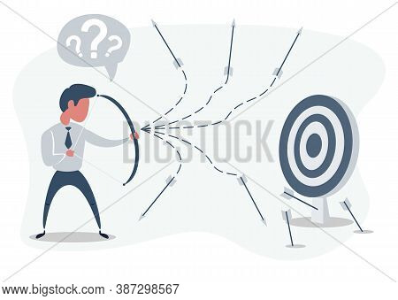 Man Or Businessman Shooting Arrow At Target With Bow And Missing. Business Concept Of Failure. Stock