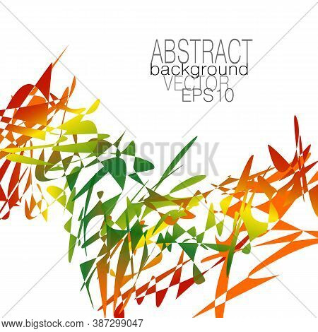 Chaotic Red, Green, Yellow Splinters And Fragments. Abstract Vector Pattern. Bright Multicolor Gradi