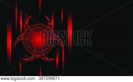 Bio Hazard Sign Background Design On Black Background