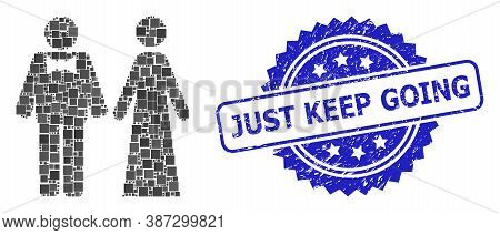 Vector Mosaic Just Married Persons, And Just Keep Going Rubber Rosette Stamp Seal. Blue Stamp Seal C