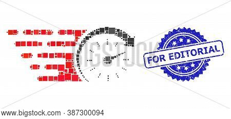 Vector Collage Time, And For Editorial Rubber Rosette Seal Imitation. Blue Seal Includes For Editori