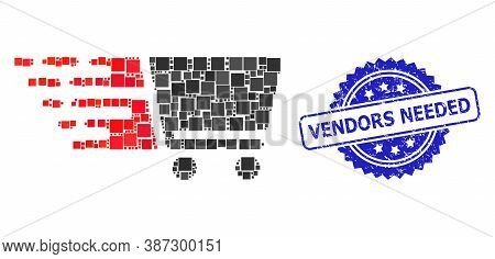Vector Collage Shopping Cart, And Vendors Needed Rubber Rosette Seal. Blue Seal Contains Vendors Nee