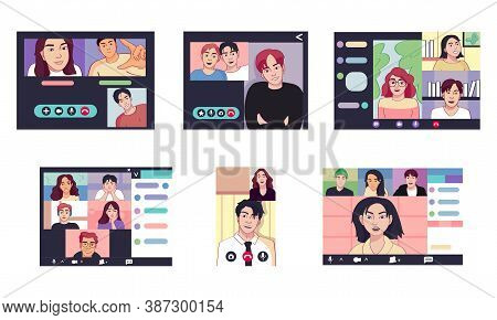 Isolated Set Group Call Smartphone Videocall Icon- Vector