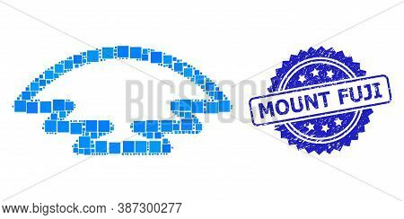 Vector Mosaic Ice Hill, And Mount Fuji Unclean Rosette Seal. Blue Seal Has Mount Fuji Text Inside Ro