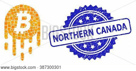Vector Collage Melting Bitcoin, And Northern Canada Scratched Rosette Stamp. Blue Stamp Has Northern