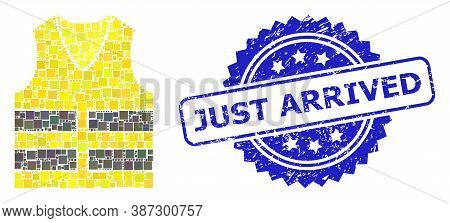 Vector Mosaic Yellow Vest, And Just Arrived Textured Rosette Stamp Seal. Blue Stamp Seal Has Just Ar