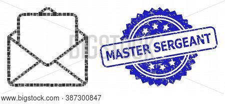 Vector Mosaic Open Letter, And Master Sergeant Unclean Rosette Stamp Seal. Blue Stamp Seal Contains