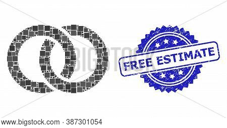 Vector Mosaic Wedding Rings, And Free Estimate Grunge Rosette Stamp Seal. Blue Stamp Seal Contains F