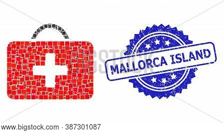 Vector Collage Medical Case, And Mallorca Island Dirty Rosette Stamp Seal. Blue Seal Contains Mallor