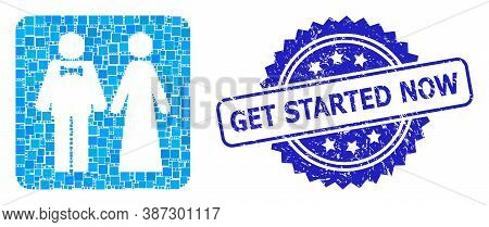 Vector Collage Just Married Persons, And Get Started Now Grunge Rosette Seal Print. Blue Stamp Seal